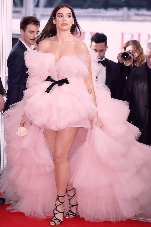 Dua Lipa Pearl Pink Strapless High Low Tulle Ball Gown 2018 Brit ...