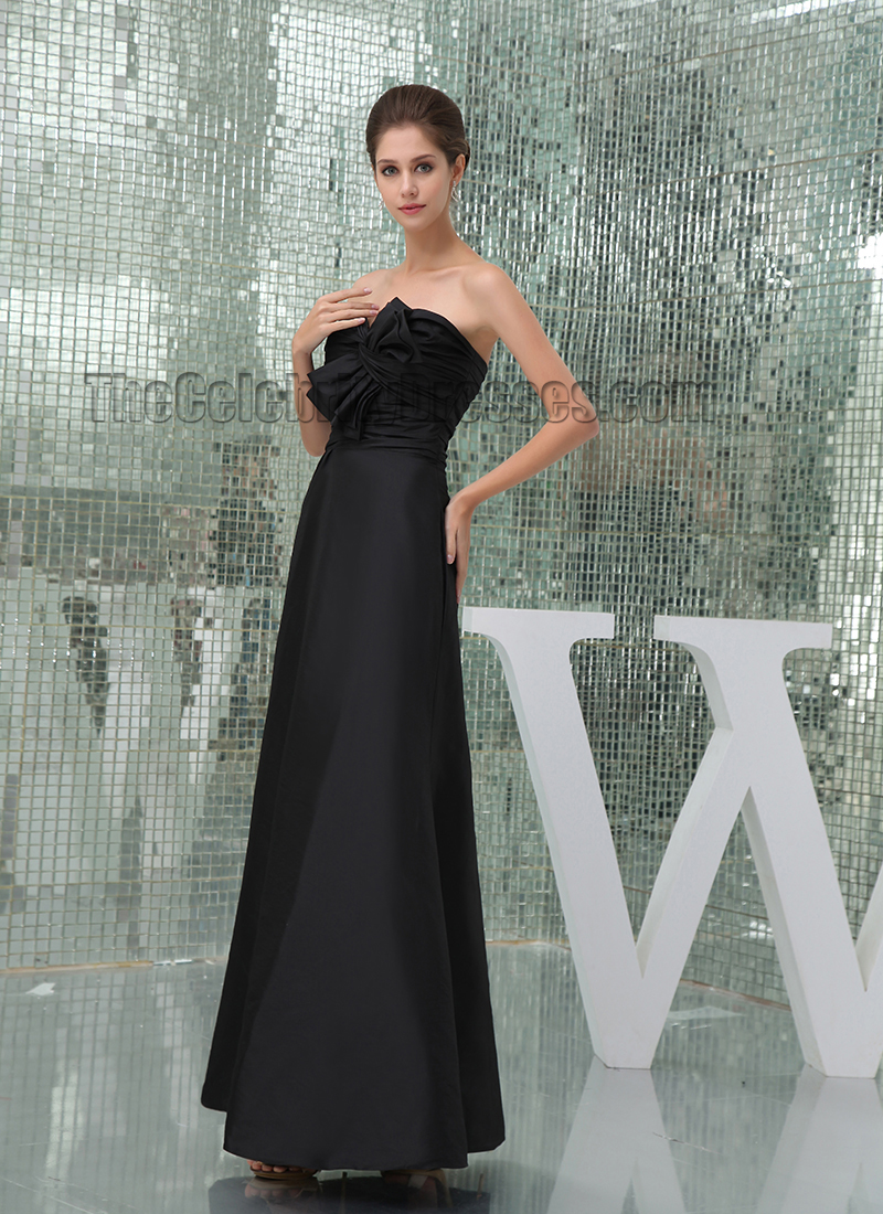 Elegant Black Floor Length Strapless Prom Gown Evening Formal ...