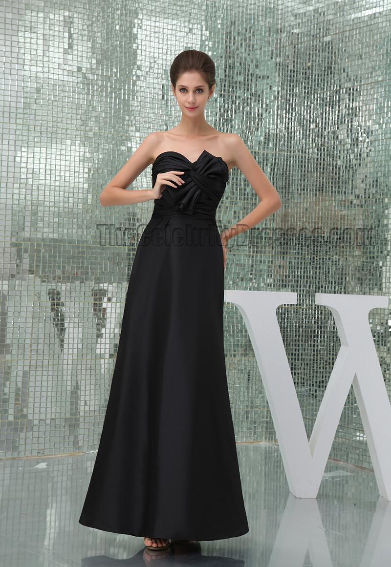 Elegant Black Floor Length Strapless Prom Gown Evening