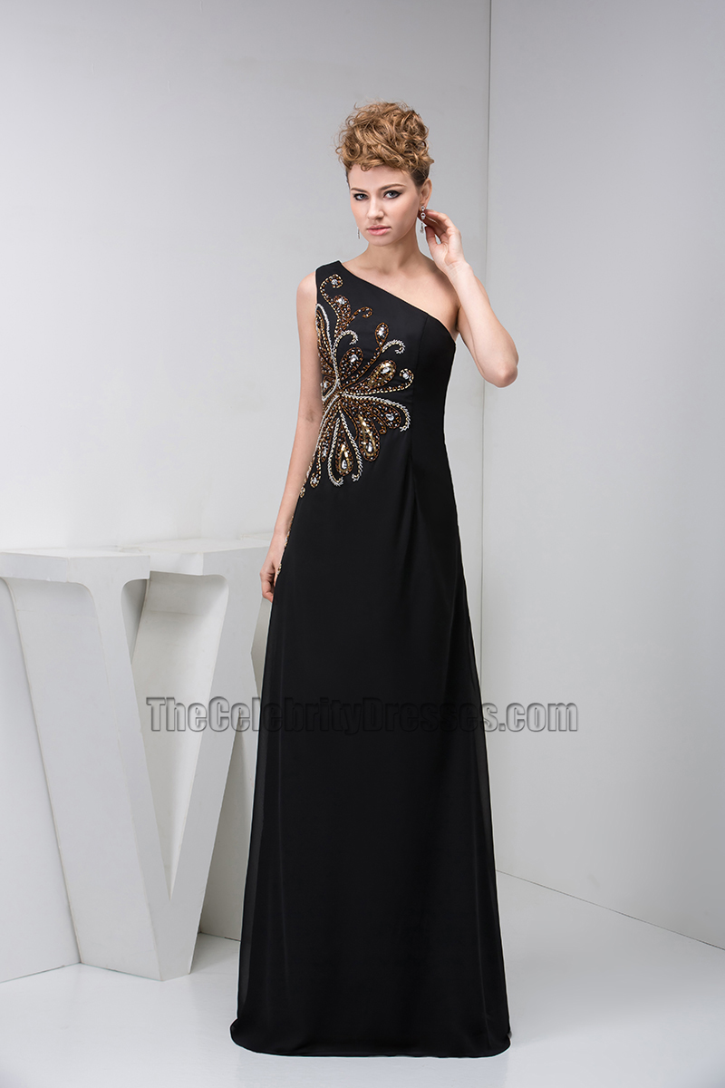 Elegant Black One Shoulder Beaded Formal Gown Evening Dresses ...