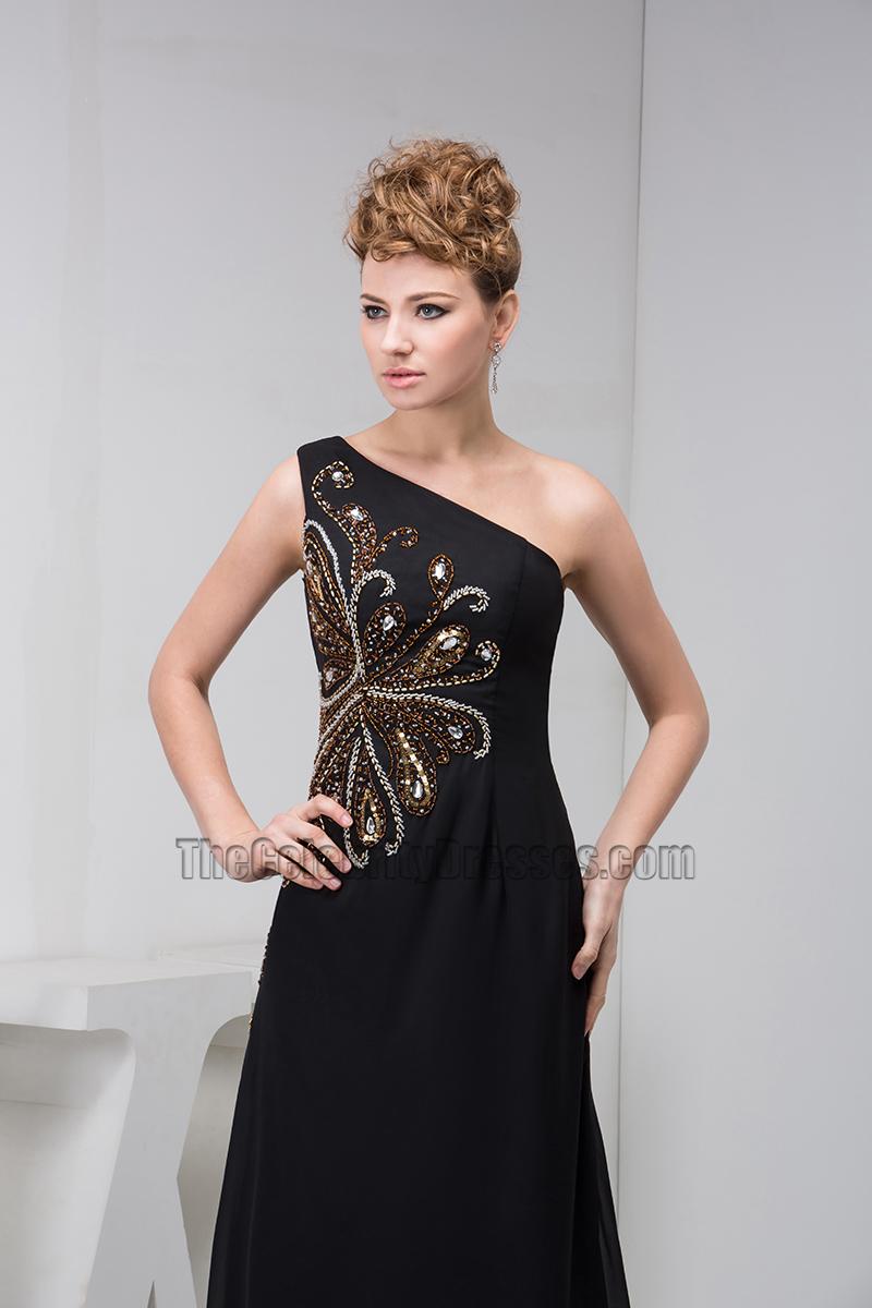 Elegant Black One Shoulder Beaded Formal Gown Evening