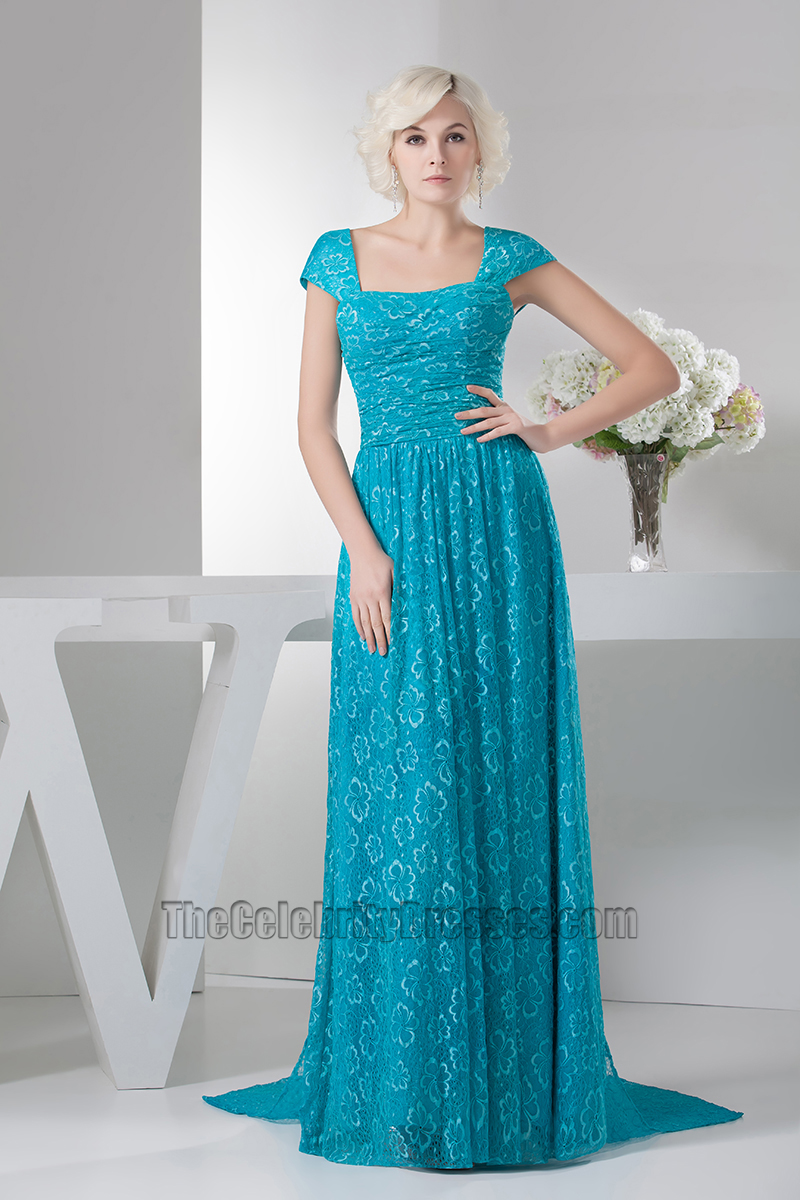 Blue Cap Sleeve Lace Formal Dress Prom Evening Gowns ...