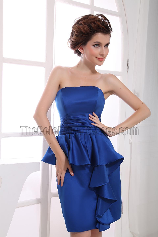 Elegant Strapless Knee Length Cocktail Dress Bridesmaid Dresses ...