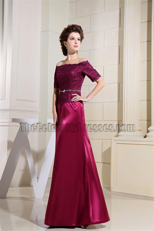 Elegant Burgundy Off The Shoulder Formal Dress Evening Gown