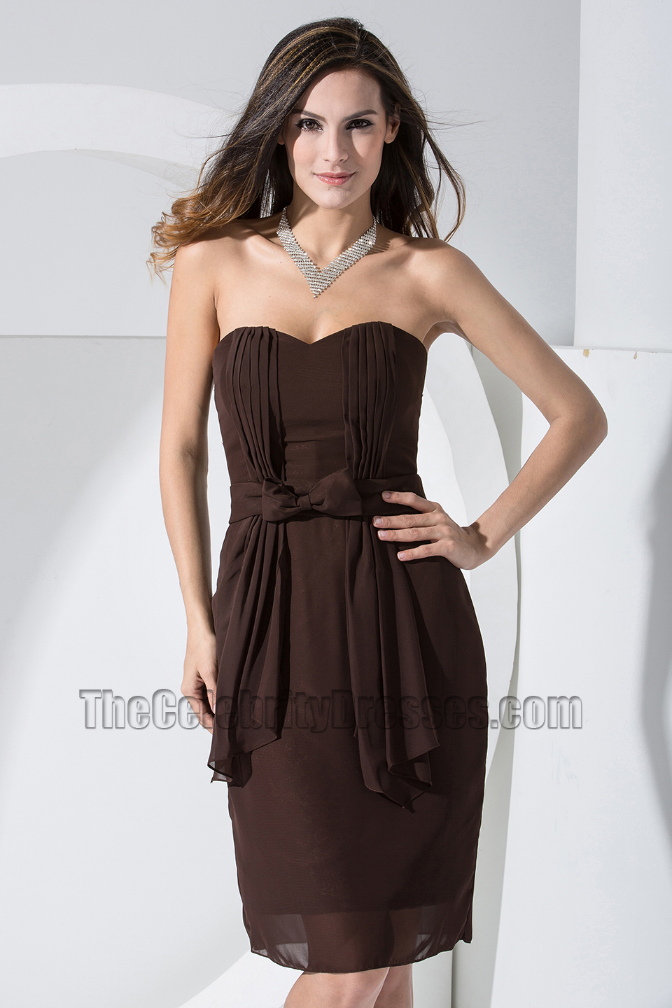 Brown Knee Length Cocktail Dress