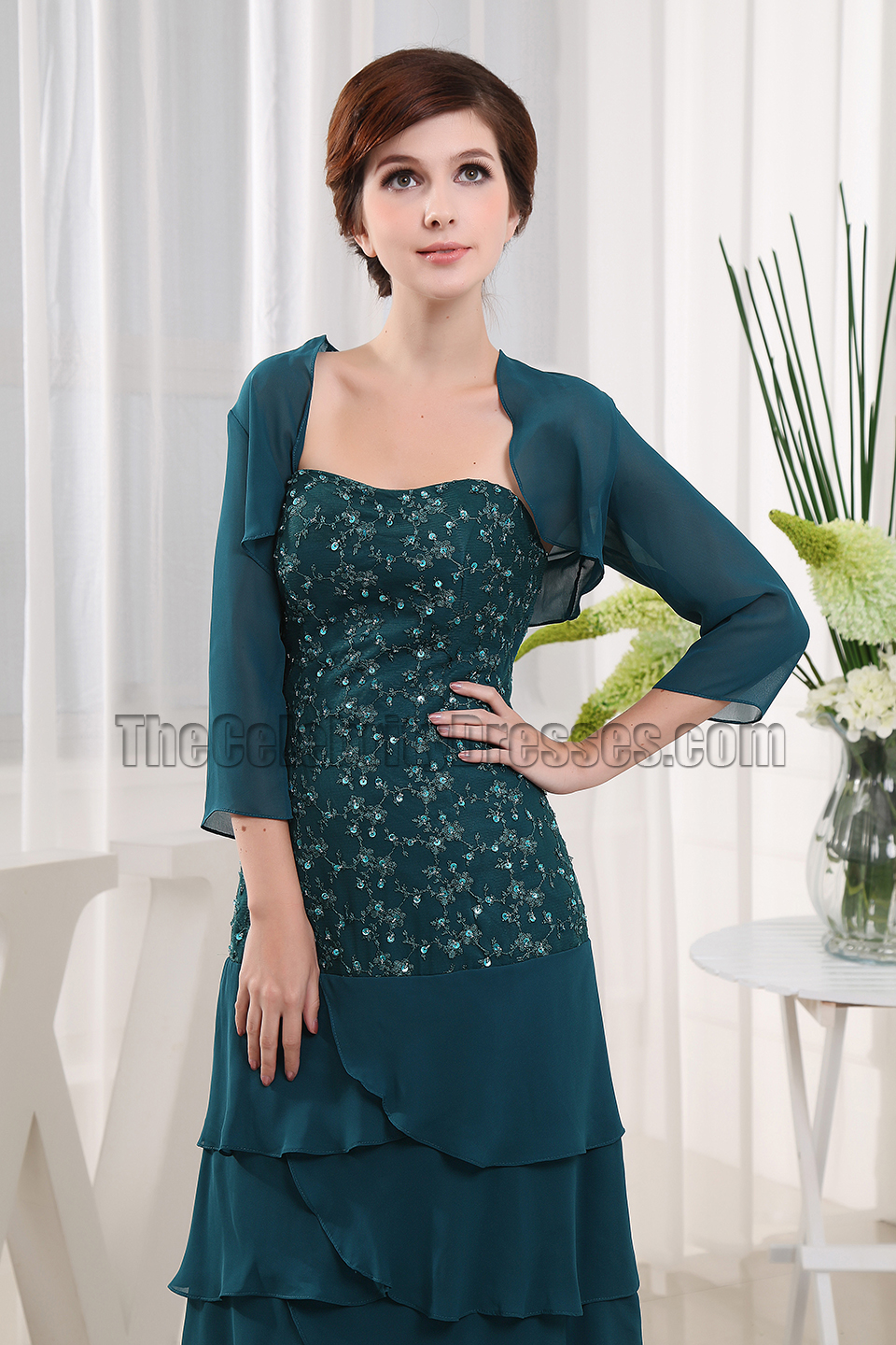 ae49e23b08 Dark Green Chiffon Mother of The Bride Dress Prom Gown - TheCelebrityDresses