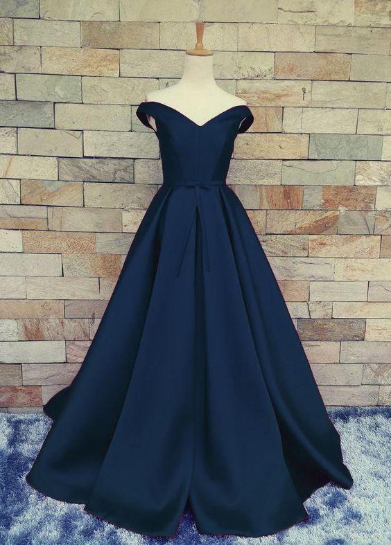 2fd1296913a7d Elegant Dark Navy Blue A Line Prom Gown Evening Dress - TheCelebrityDresses