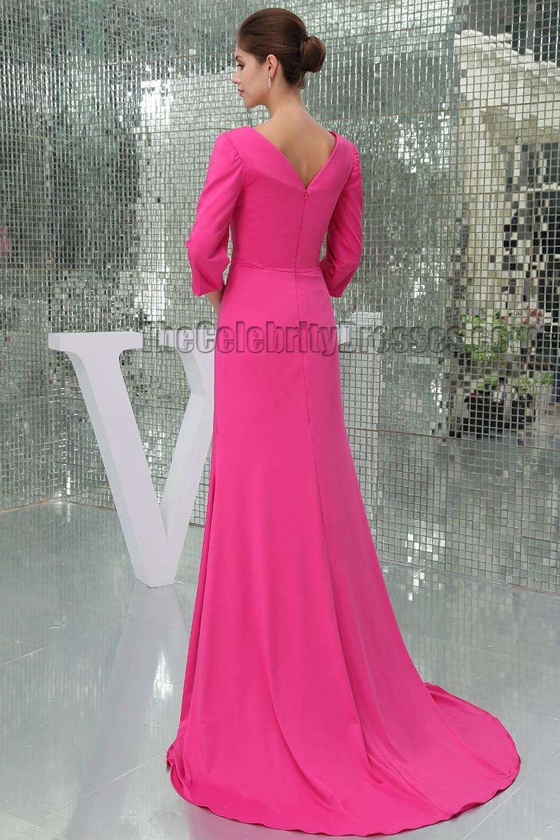 Elegant Fuchsia V-Neck Sweep Train Formal Dress Evening Gown ...