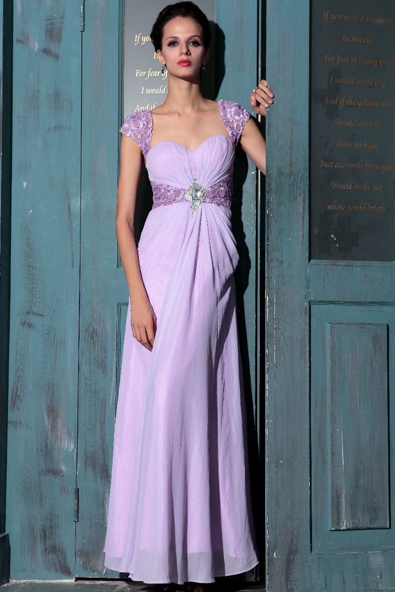 Elegant Lilac Cap Sleeves Prom Gown Evening Dresses ...