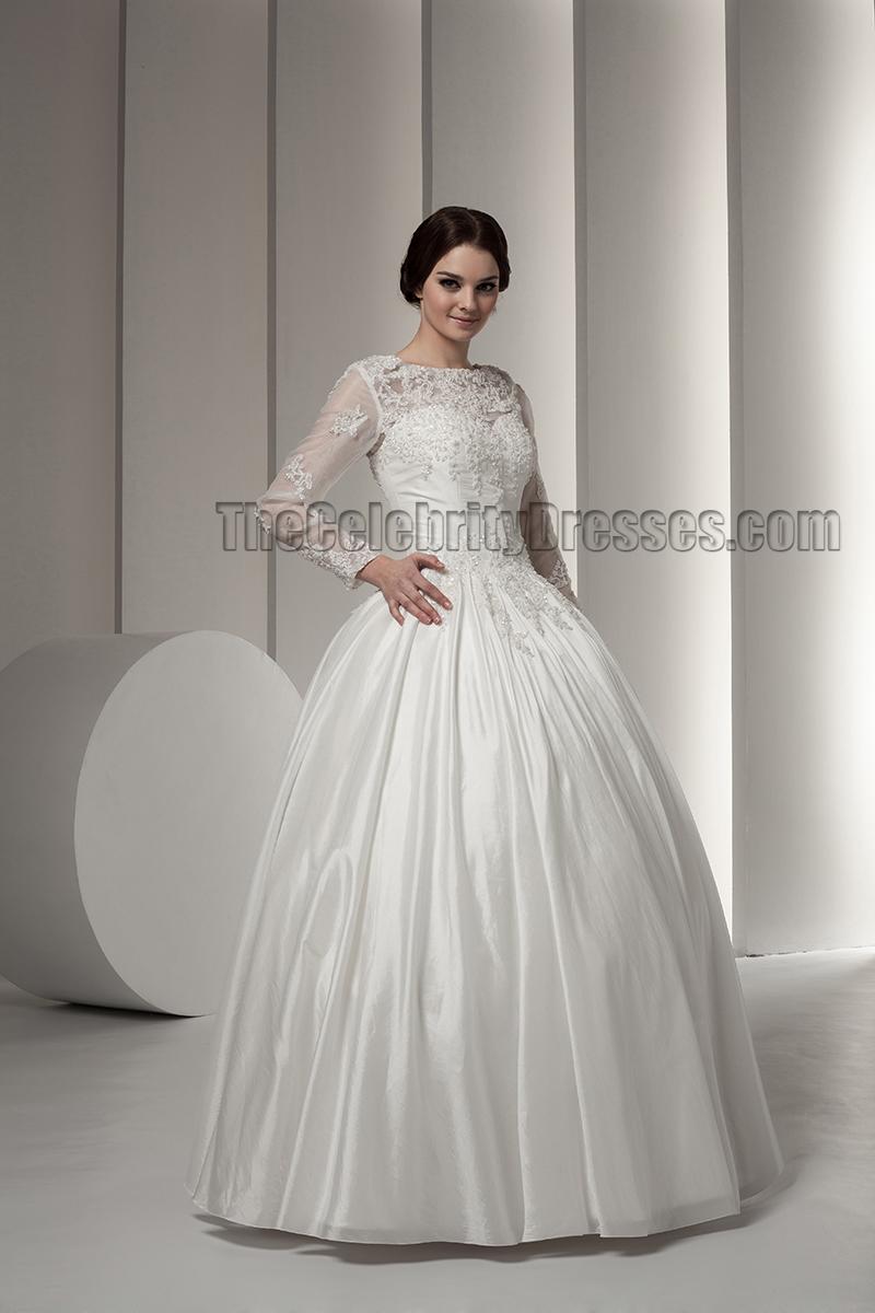 Elegant Long Sleeve Ball Gown Floor Length Wedding Dresses ...