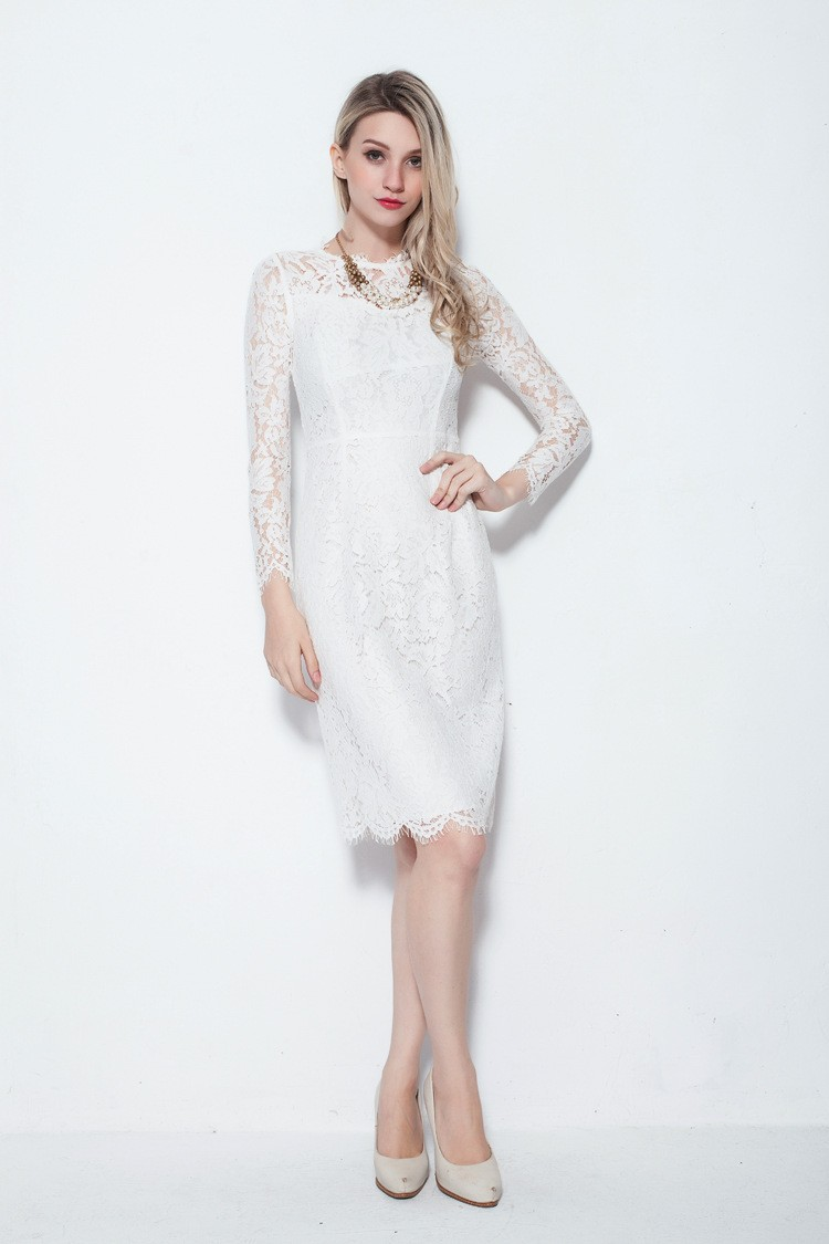 Elegant Long Sleeve Lace Knee Length Cocktail Party Dresses ...