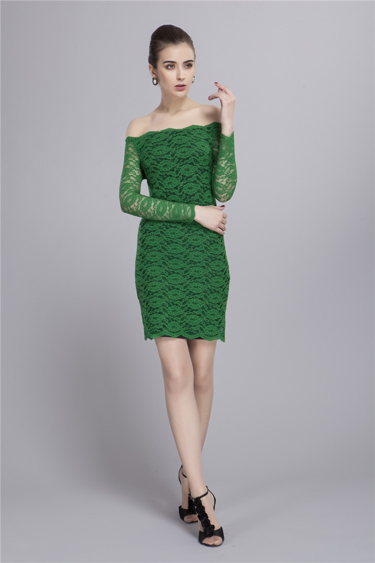 Off-the-shoulder Long Sleeve Green Lace Cocktail Party Dresses ...