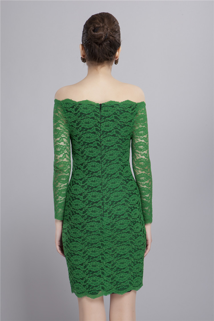 6036e85999c6 Off-the-shoulder Long Sleeve Green Lace Cocktail Party Dresses -  TheCelebrityDresses