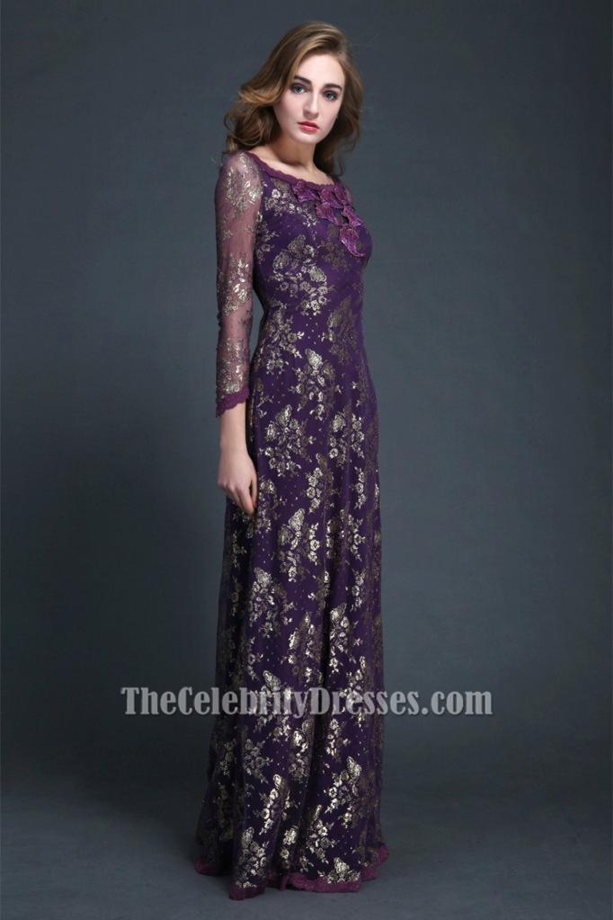 Elegant Purple Long Sleeve Evening Dress Formal Gown ck300 ...
