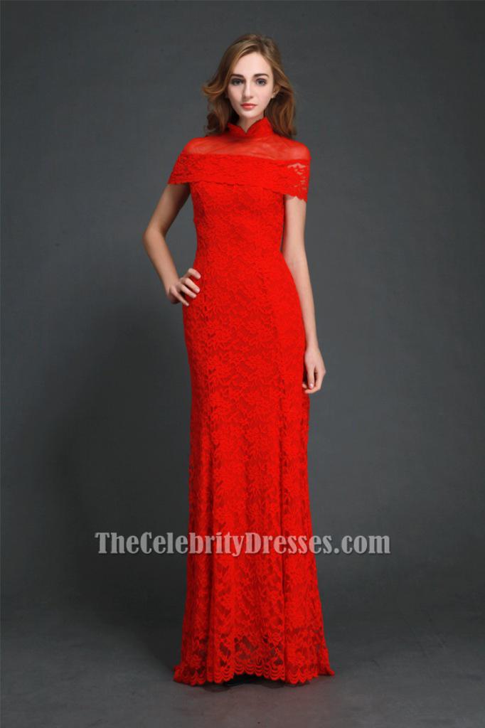 Elegant Red High Neckline Lace Evening Gowns Formal Dress CK306 ...