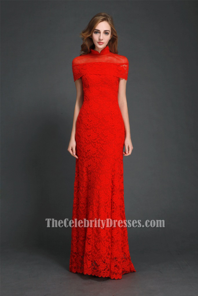 Elegant Red High Neckline Lace Evening Gowns Formal Dress CK306 ...