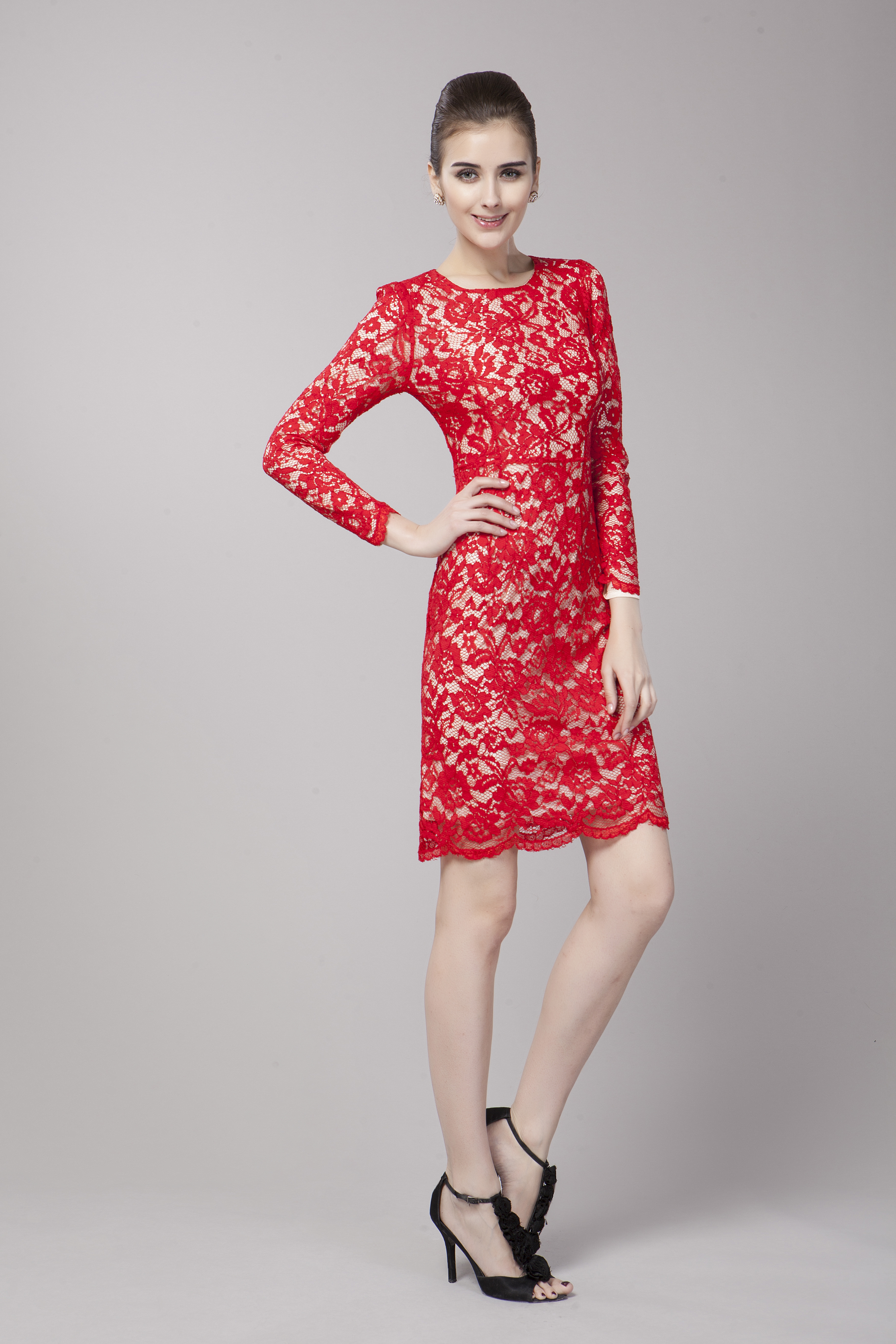 Elegant Red Lace Long Sleeve Cocktail Party Dress - TheCelebrityDresses