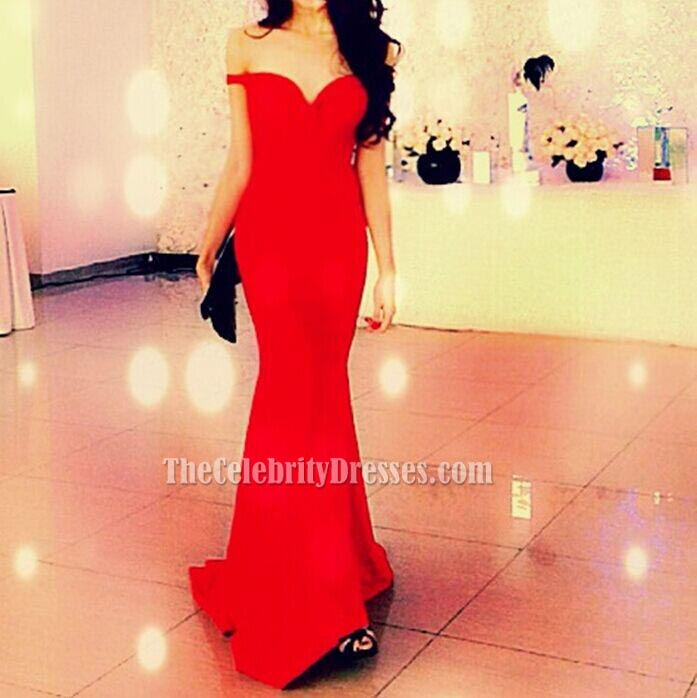 Elegant Red Off The Shoulder Prom Gown Evening Dress ...