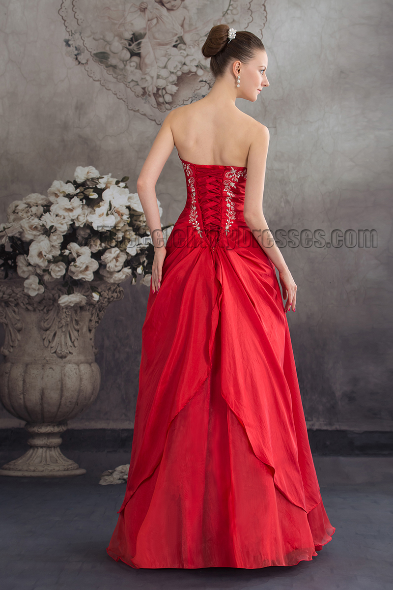 Elegant Red Strapless Embroidered A-Line Formal Dress Evening Gown ...