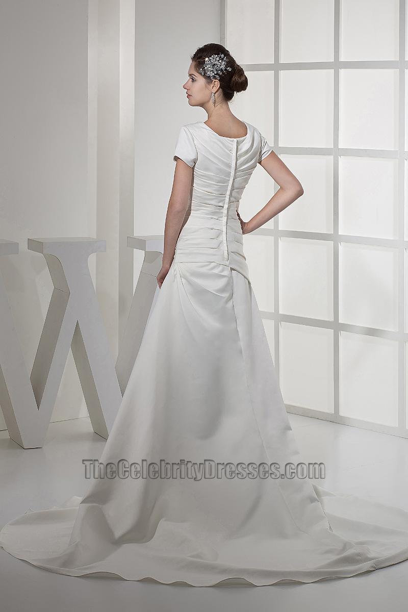Elegant short sleeves a line taffeta wedding dresses for Short flowing wedding dresses