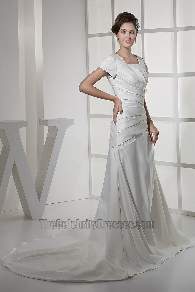 Elegant short sleeves a line taffeta wedding dresses for Short elegant wedding dresses