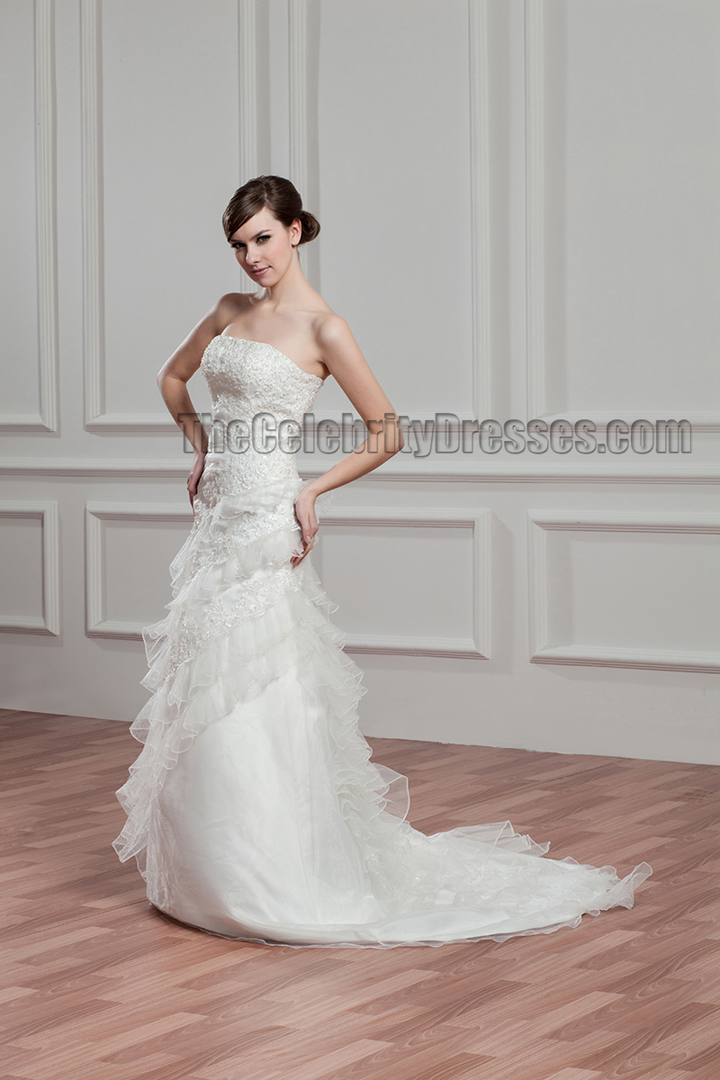 Elegant strapless a line beaded bridal gown wedding dress for Elegant beaded wedding dresses