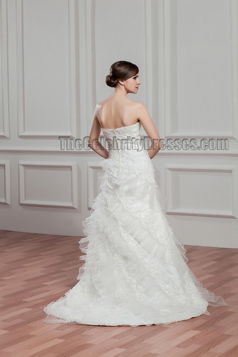 Elegant Strapless A Line Beaded Bridal Gown Wedding Dress