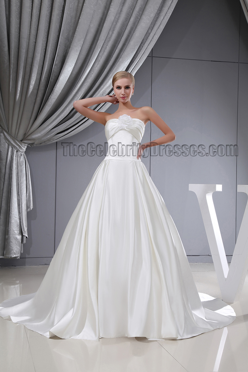 Elegant strapless a line chapel train silk like satin for Satin silk wedding dresses
