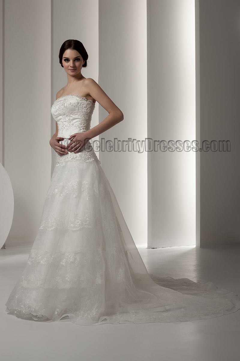 Elegant strapless a line lace beaded wedding dresses for Elegant beaded wedding dresses