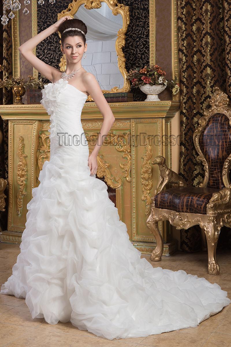 Elegant strapless a line ruffles chapel train wedding for Chapel train wedding dresses