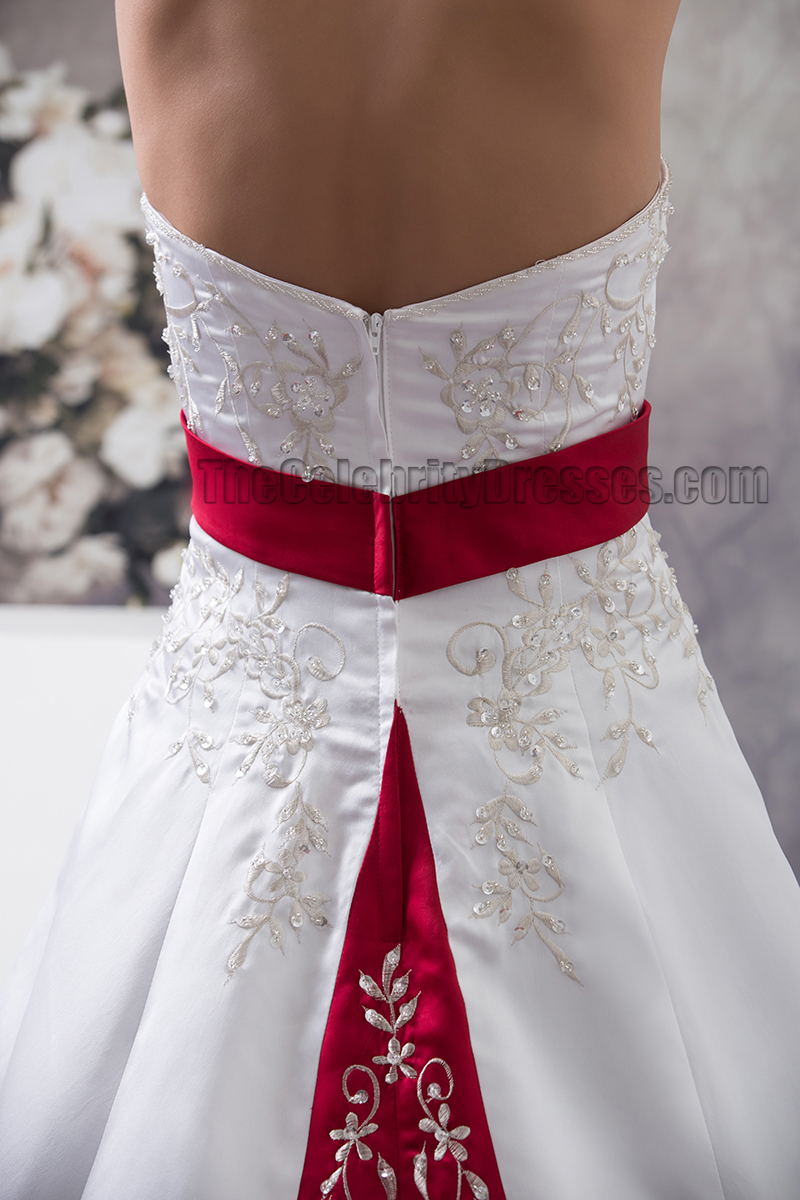 086249784d Strapless Embroidered A-Line Chapel Train White And Burgundy Wedding Dress  - TheCelebrityDresses