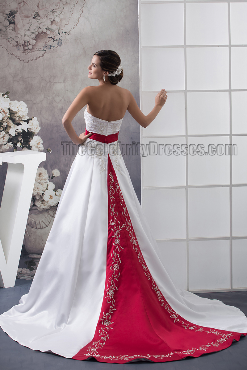 Strapless Embroidered A-Line Chapel Train White And Burgundy Wedding ...
