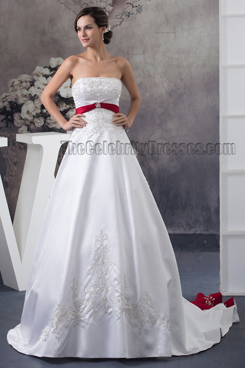 299678c3cd strapless embroidered a line chapel train white and burgundy wedding dress  thecelebritydresses