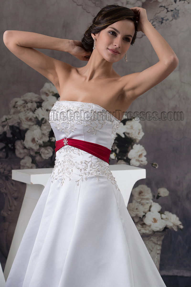 Strapless embroidered a line chapel train white and burgundy strapless embroidered a line chapel train white and burgundy wedding dress thecelebritydresses ombrellifo Gallery