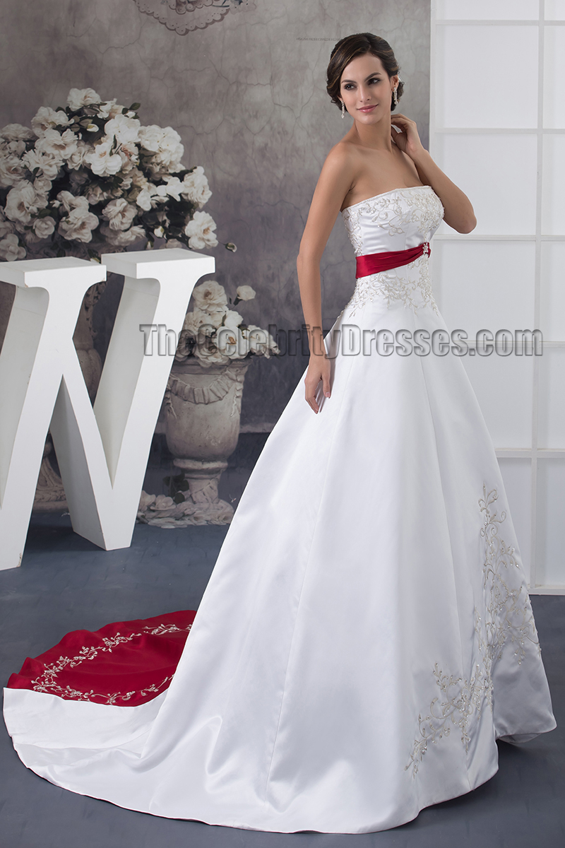 Strapless Embroidered A Line Chapel Train White And Burgundy Wedding Dress Thecelebritydresses