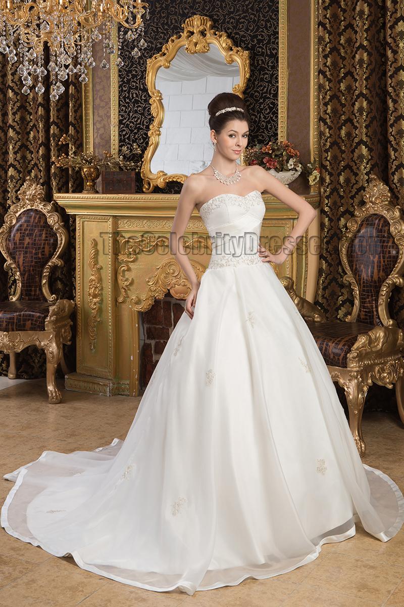 Elegant strapless embroidered chapel train wedding dresses for Chapel train wedding dresses
