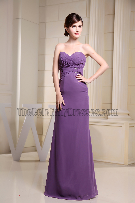 Purple Strapless Sweetheart Mermaid Evening Dress Bridesmaid ...