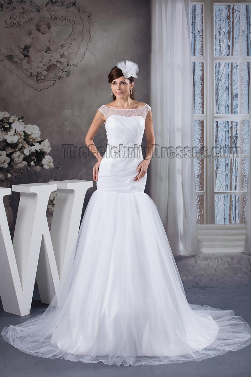 Elegant trumpet mermaid beaded chapel train wedding dress for Chapel train wedding dresses