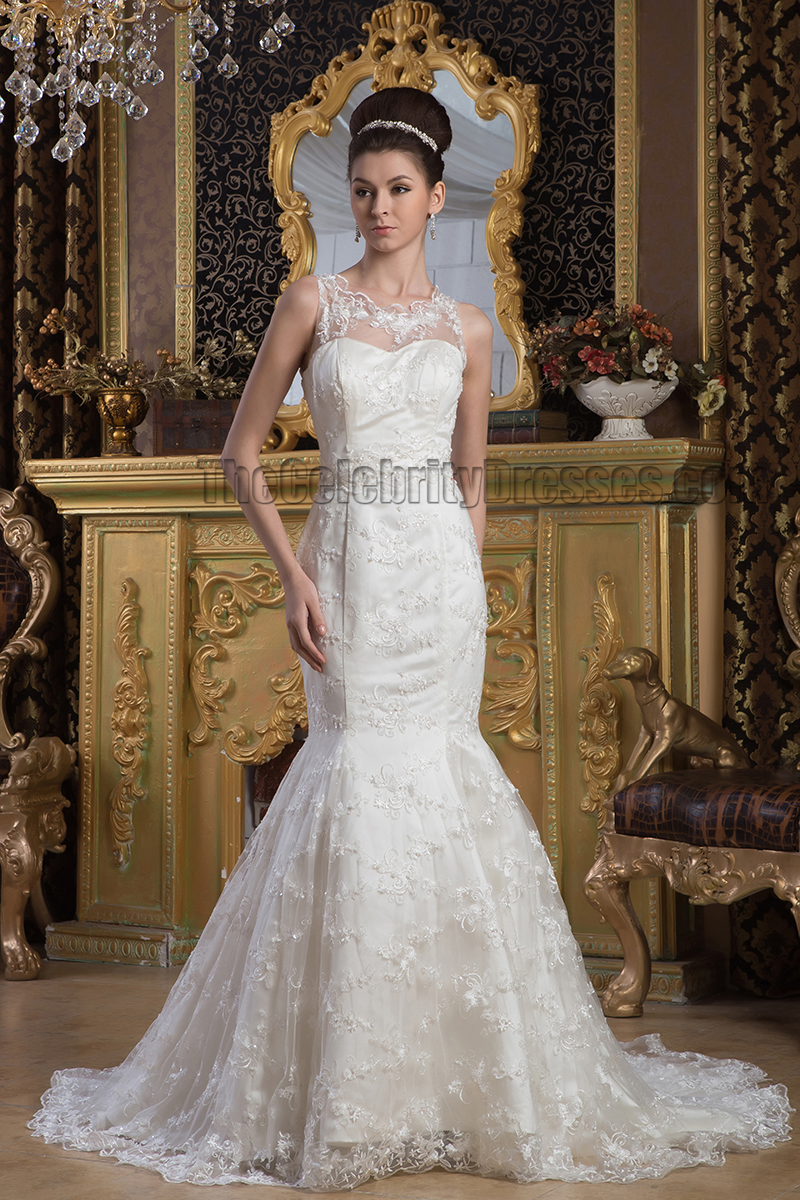 Elegant Trumpet Mermaid Lace Sleeveless Wedding Dress