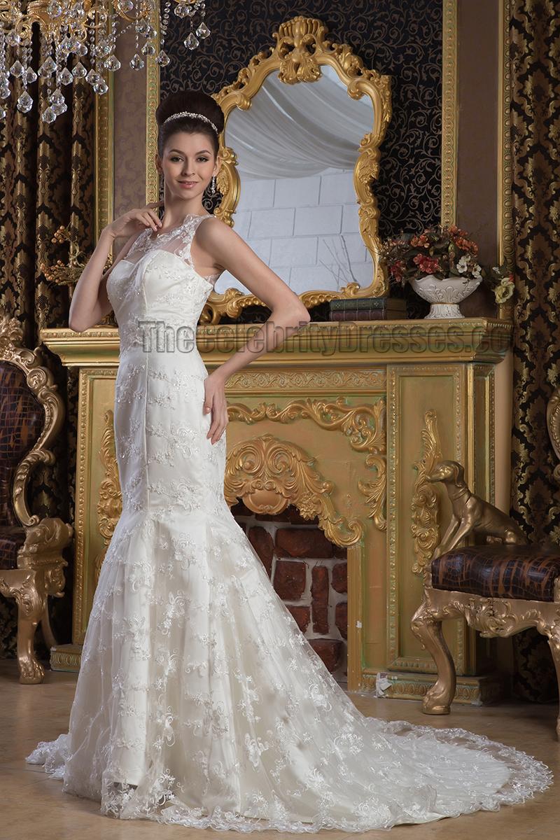 b3c6ee7ca0 Elegant Trumpet Mermaid Lace Sleeveless Wedding Dress Bridal Gown -  TheCelebrityDresses