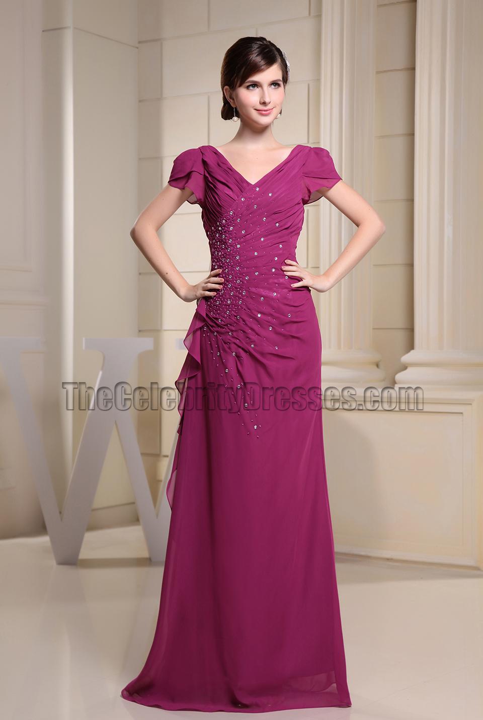 V-neck Handmade Beaded Formal Dress Prom Evening Dresses ...