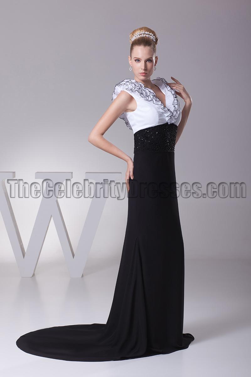 Elegant White And Black V-Neck Formal Dress Evening Gown ...