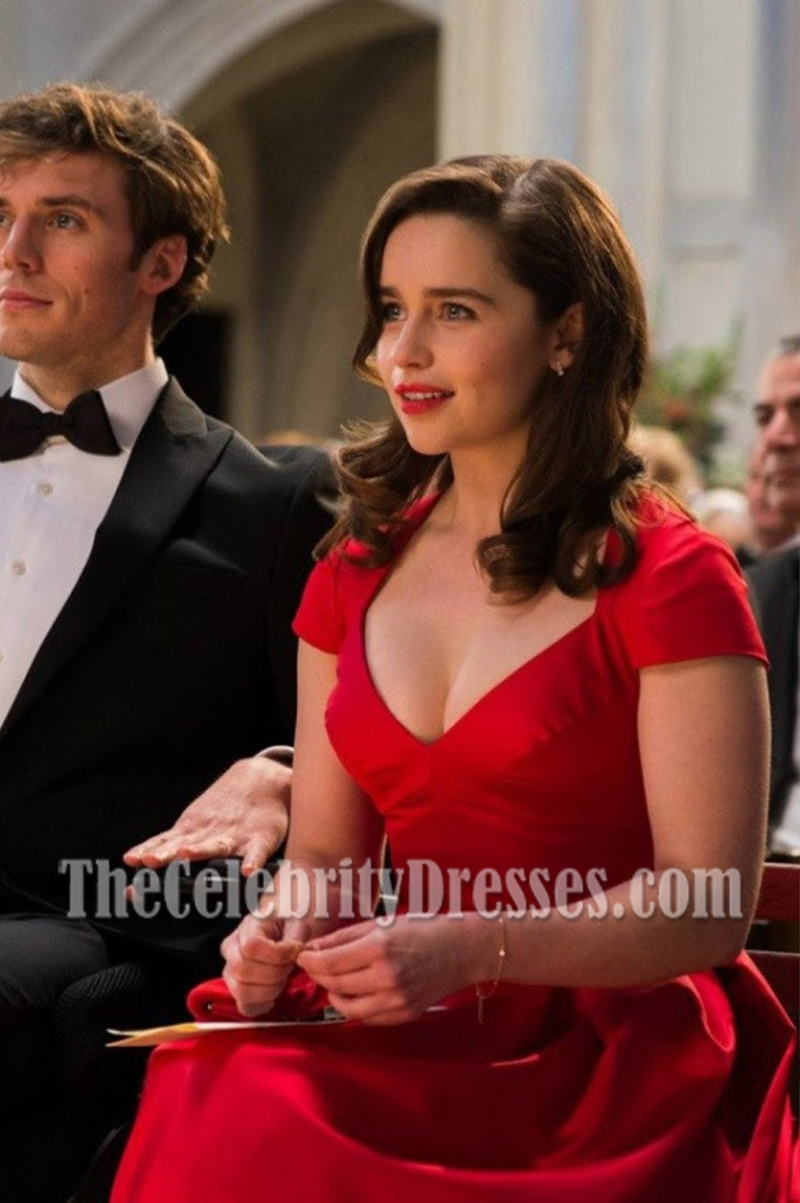 Emilia Clarke Rote Cap Sleeves Kurzes Partykleid In Film Me Vor ...