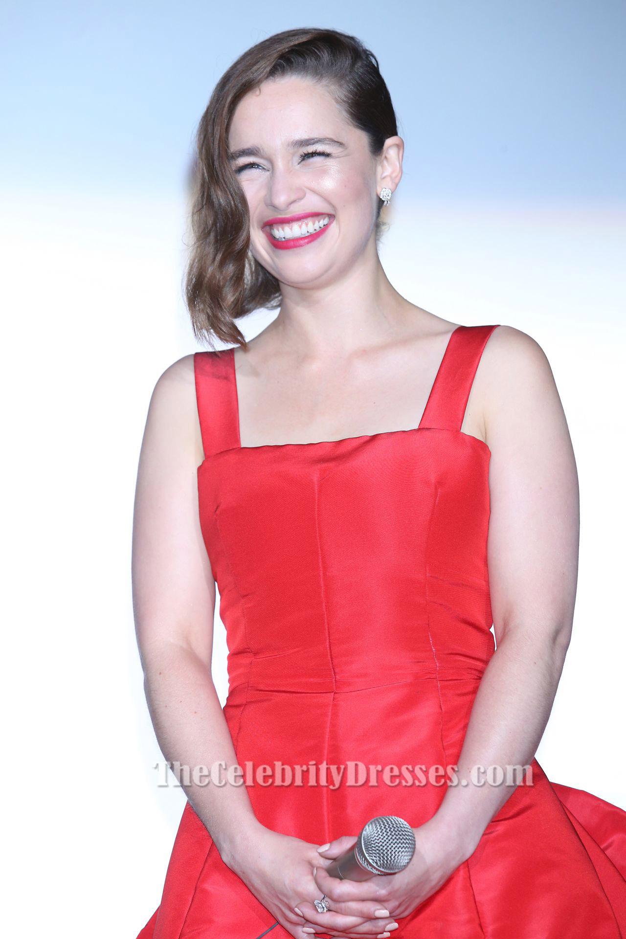 Emilia Clarke Red Cocktail Party Dress 'Terminator Genisys' Tokyo Premiere  - TheCelebrityDresses