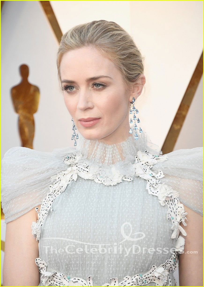 dc7f6da432 Emily Blunt 2018 Oscars Cap Sleeves Tulle Formal Dress Evening Gown -  TheCelebrityDresses
