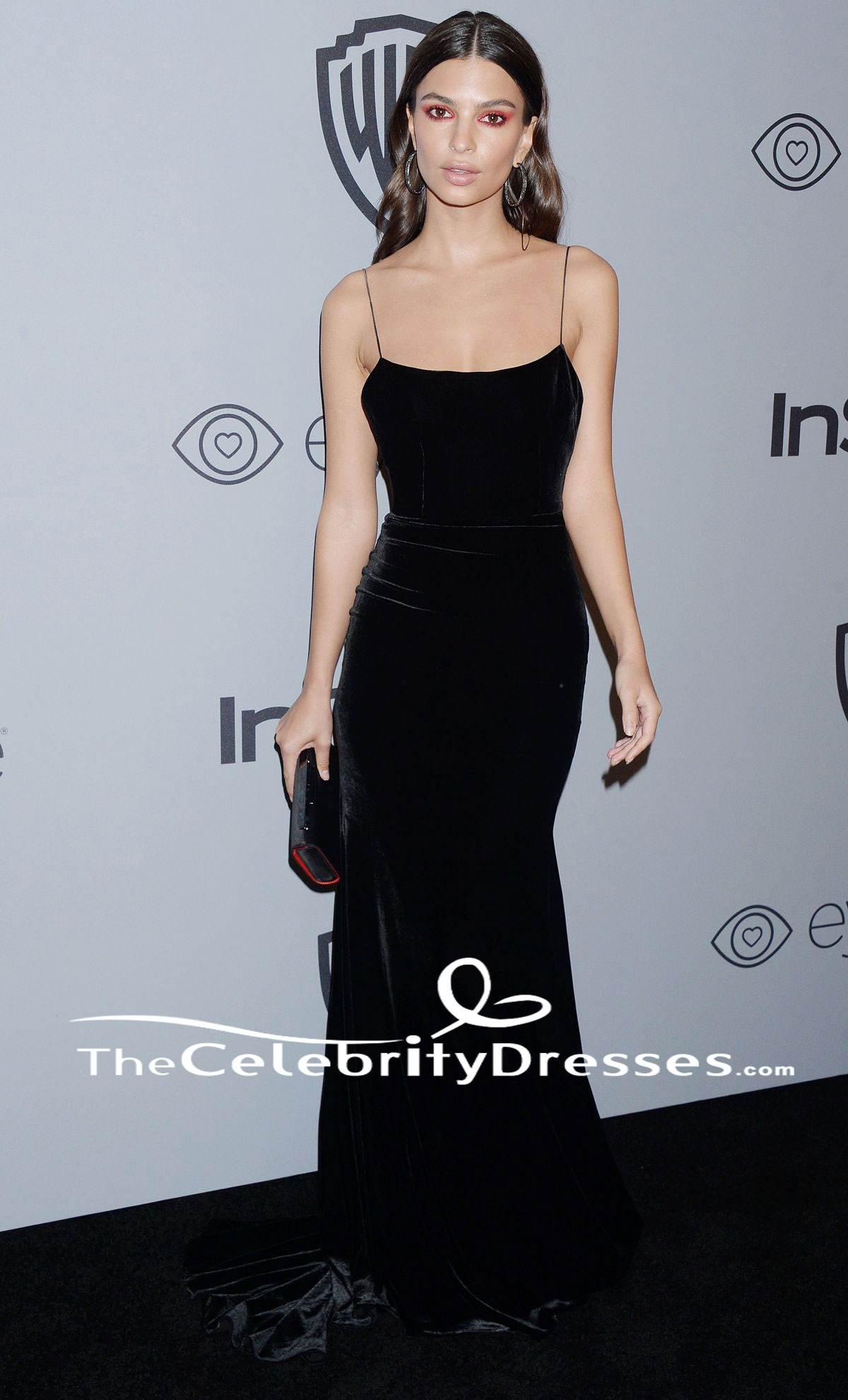 Emily Ratajkowski Spaghetti Straps Evening Dress HBO\'s Golden Globe ...