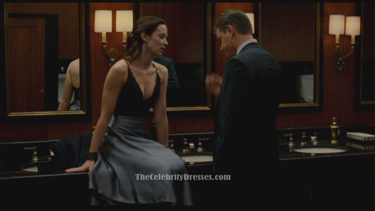 emily blunt 39 s blue satin and lace evening dress in the movie adjustment bureau thecelebritydresses. Black Bedroom Furniture Sets. Home Design Ideas