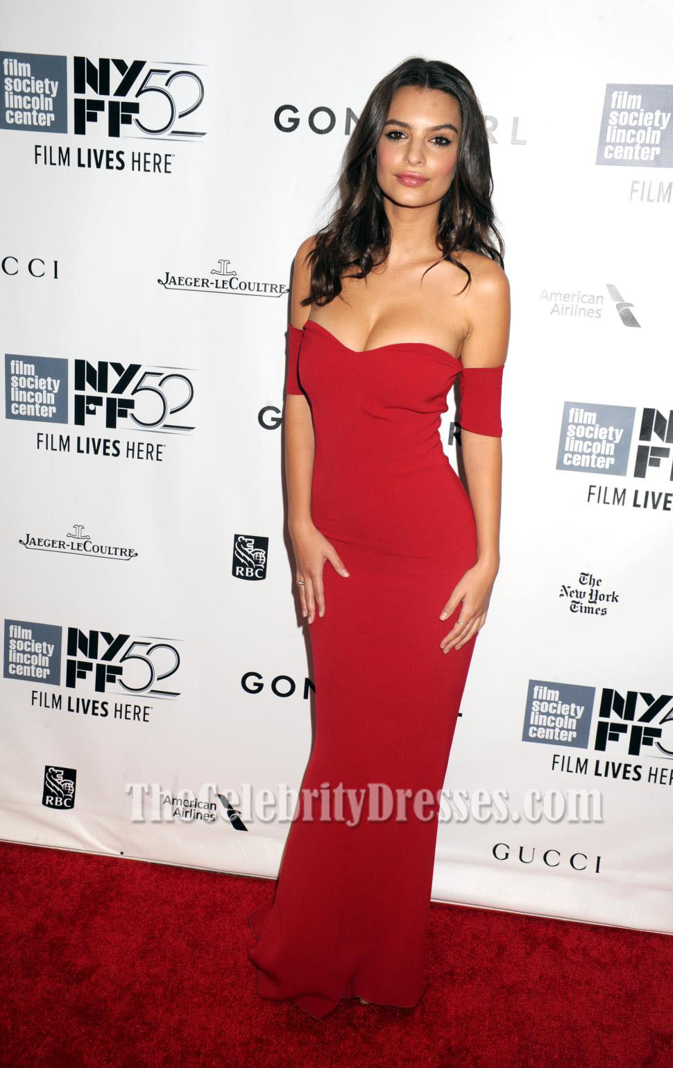 Emily Ratajkowski Red Evening Dress 'Gone Girl' World Premiere ...