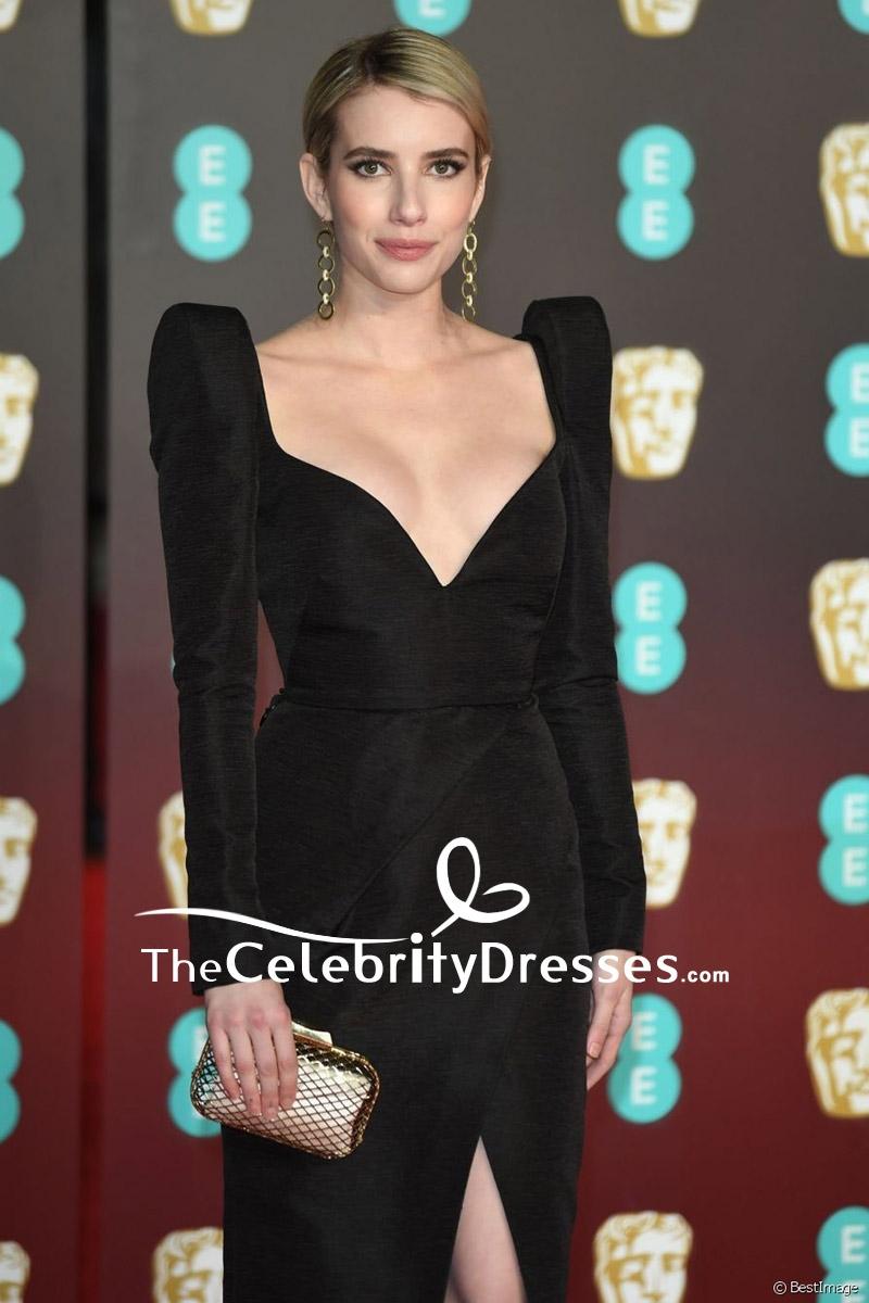 Emma Roberts Black V-neck Thigh-high Slit Evening Cocktail Dress EE ...