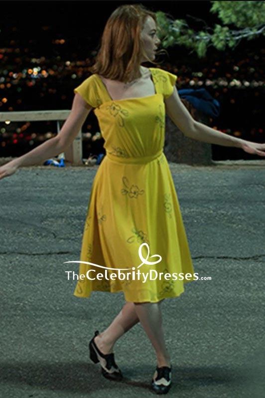 Emma Stone Yellow Print Dress Cosplay Costume In La La Land Thecelebritydresses
